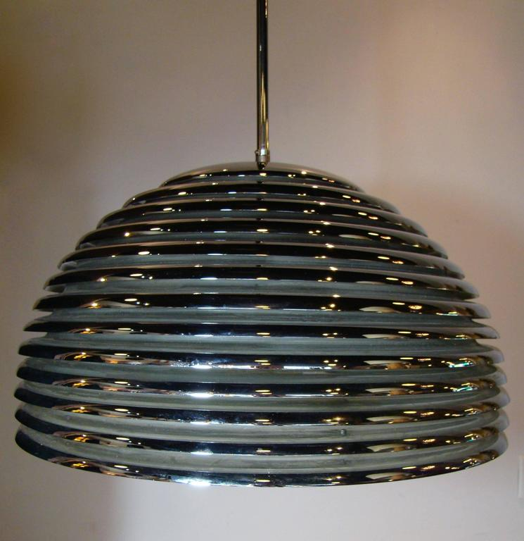 Modernist Chrome Beehive Pendant Lamp 3