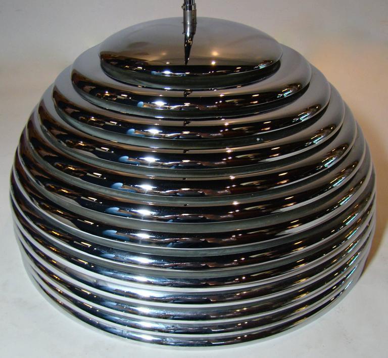 Modernist Chrome Beehive Pendant Lamp 5