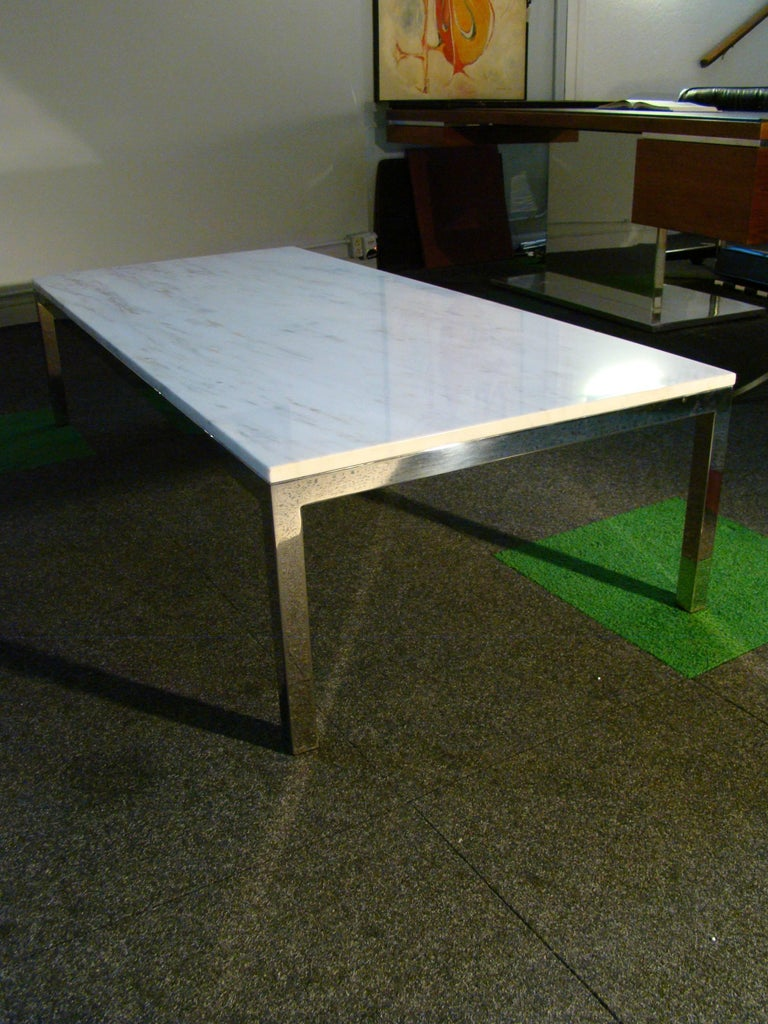 Marble and chrome rectangular coffee table after florence Florence knoll coffee table