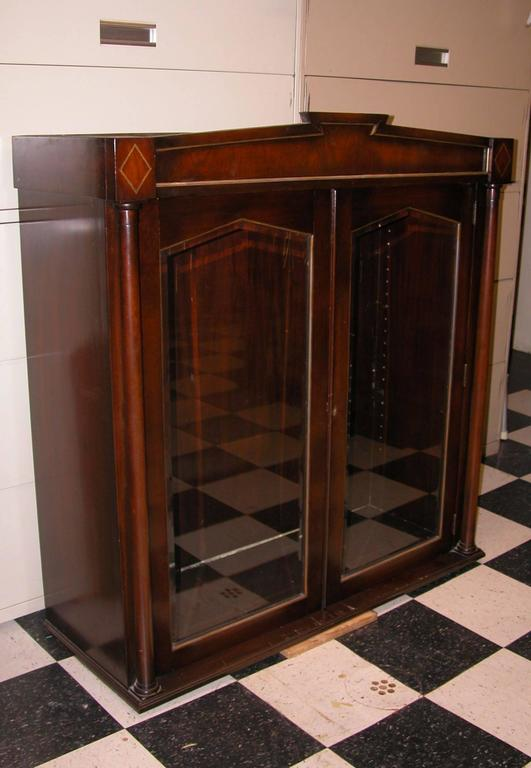 Pair Of Mahogany Upper Cabinets With Glass Doors For Sale At 1stdibs