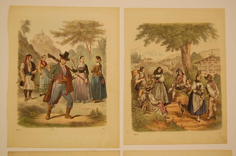 Four nationality costume prints in excellent condition, measures 7.75 inches x 10 inches