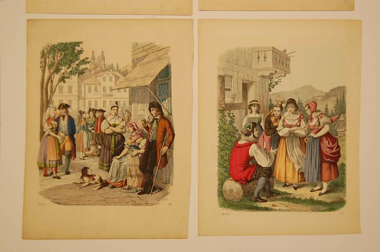 Early Victorian Set of Four Hand Colored 19th Century Prints Depicting European Villages For Sale