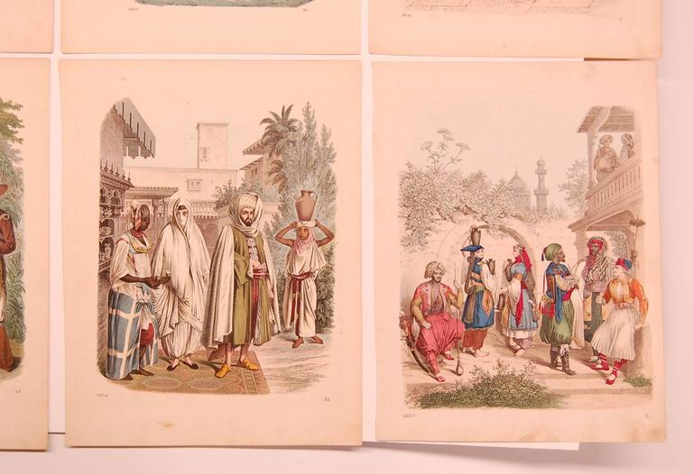 Eight extremely nice hand-colored prints dating 1853-1863, all very similar in coloring and style.