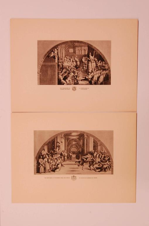"""Eight modern prints measuring 9.5 inches x 13 inches overall, each depicting a different scene of ancient Rome, """"Mount Parnassus"""", """"Defeat of the Saracens"""", """"Expulsion of Heliodorus"""", """"Coronation of Charles the"""