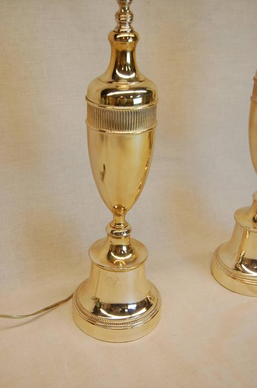 American Pair of Art Deco Period Silver Plated Urn Lamps, circa 1940s For Sale