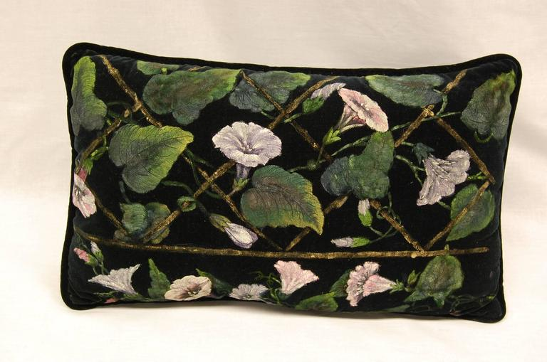 Victorian Floral Pillows : Stunning Victorian Floral Hand-Painted Throw Pillow at 1stdibs