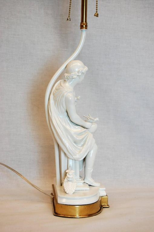 High Victorian Classical Greek Figure of a Male with Doves on Brass Base For Sale