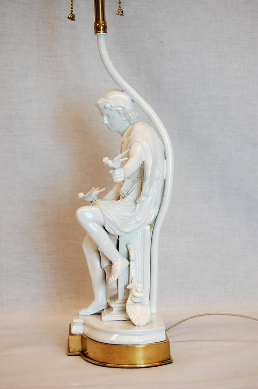 Lacquered Classical Greek Figure of a Male with Doves on Brass Base For Sale