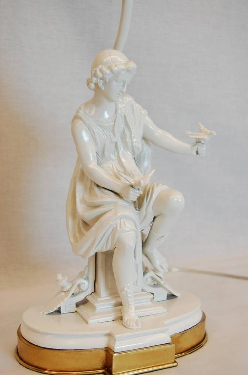 Classical Greek Figure of a Male with Doves on Brass Base In Excellent Condition For Sale In Pittsburgh, PA