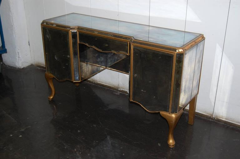Table Dressing Wood 1950 Scarved ~ S mirrored dressing table with gold painted legs and