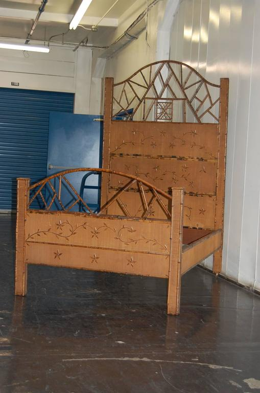 Turn Of The Century Bamboo And Rattan Bed With Side Rails