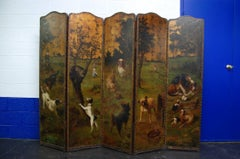 19th Century Painted Leather Five-Panel Folding Screen Signed RR Cole