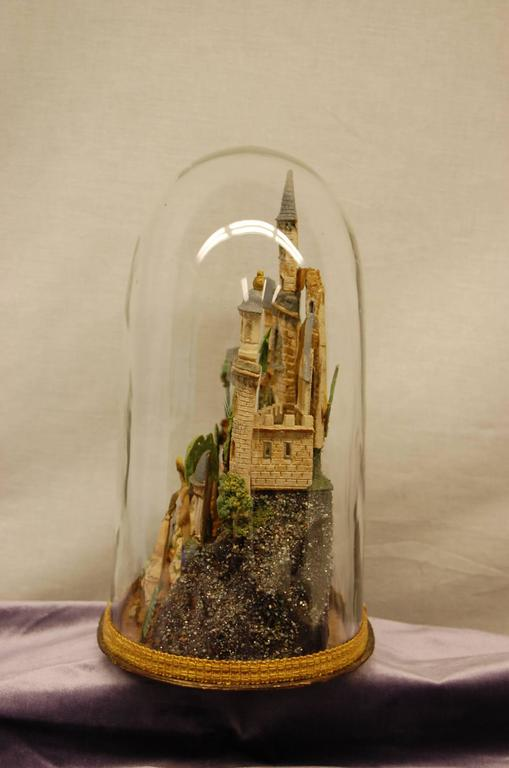 Blown Glass Early 19th Century Composition Diorama under Original Glass Dome For Sale