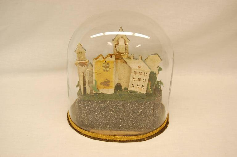 Early 19th Century Composition Diorama under Original Glass Dome In Good Condition For Sale In Pittsburgh, PA