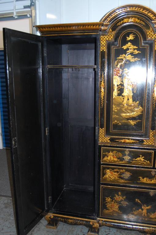 Mid-19th Century 19th Century English Japanned Chinoiserie Wardrobe Cabinet For Sale