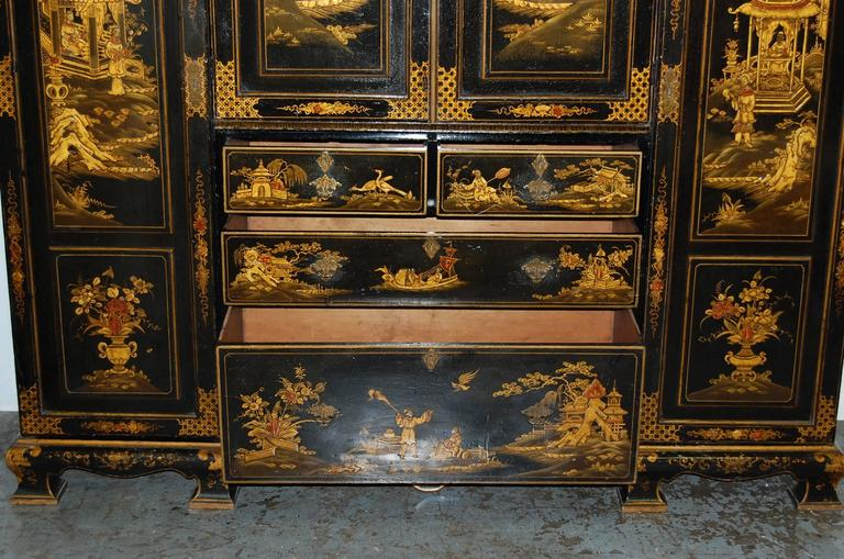 19th Century English Japanned Chinoiserie Wardrobe Cabinet For Sale 4