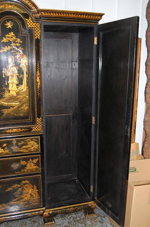 Wood 19th Century English Japanned Chinoiserie Wardrobe Cabinet For Sale