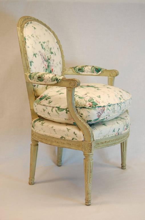 Louis XVI Carved Wood Fauteuil in Green Painted Finish, circa 1800 ...