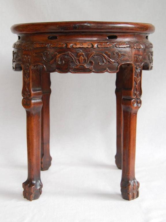 Chinese Chippendale 19th Century Circular Chinese Carved Rosewood Table with Marble Top For Sale