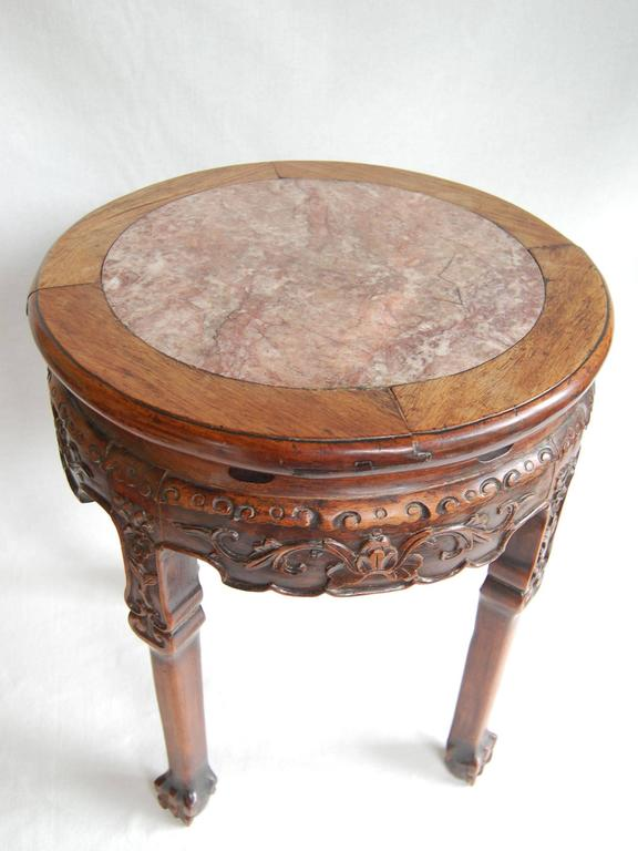 Hand-Carved 19th Century Circular Chinese Carved Rosewood Table with Marble Top For Sale