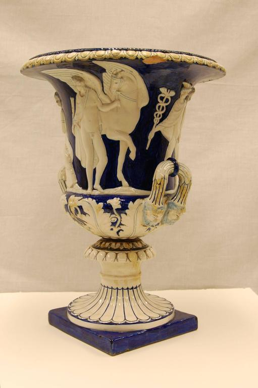 Classical Roman Antique Classically Inspired Majolica Urn in Blue and White Glazed Finish For Sale