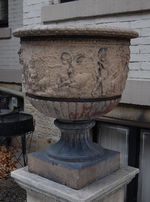 Classical Roman Large 19th Century Terracotta Urn on Modern Cement Plinth For Sale