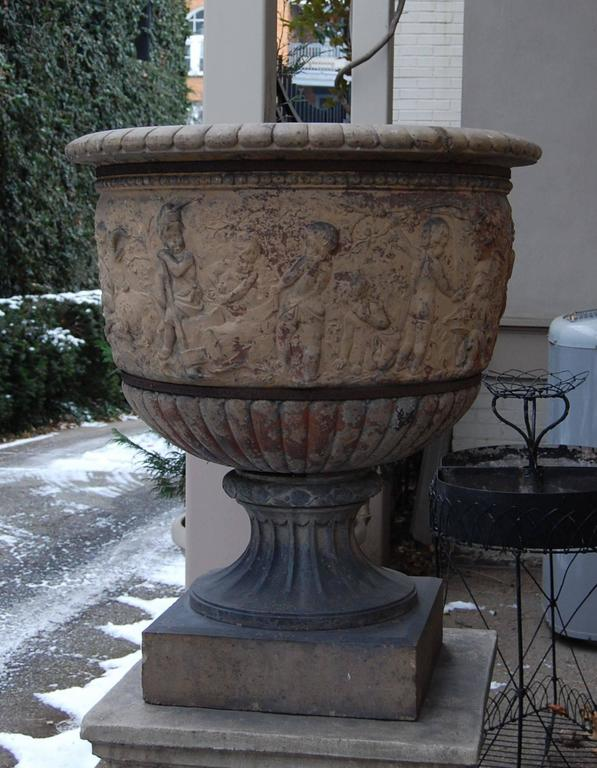 Italian Large 19th Century Terracotta Urn on Modern Cement Plinth For Sale