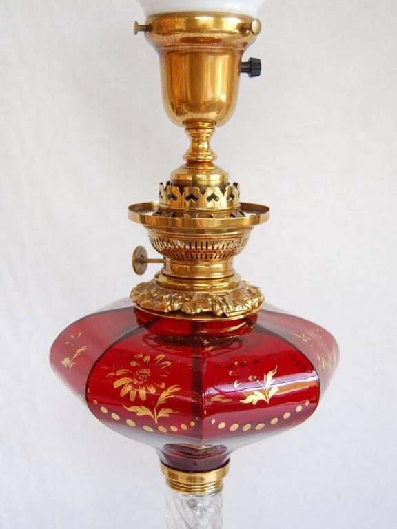 Mid 19th Century Ruby Glass Font Oil Lamp w/ Clear Twisted Glass Column C. 1865 In Excellent Condition For Sale In Pittsburgh, PA