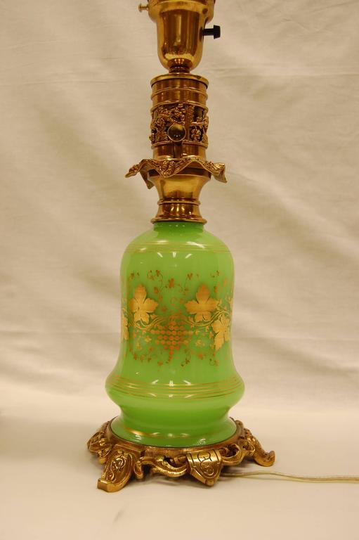 Pair of Green Opaline Gold Leaf Decorated French Oil Lamps, circa 1860 In Excellent Condition For Sale In Pittsburgh, PA