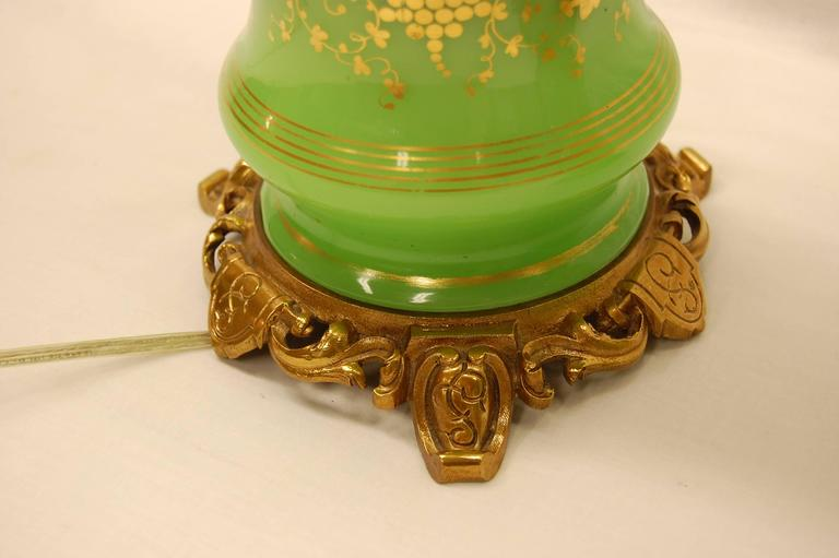 Brass Pair of Green Opaline Gold Leaf Decorated French Oil Lamps, circa 1860 For Sale