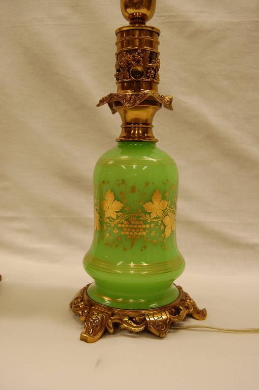 English Pair of Green Opaline Gold Leaf Decorated French Oil Lamps, circa 1860 For Sale