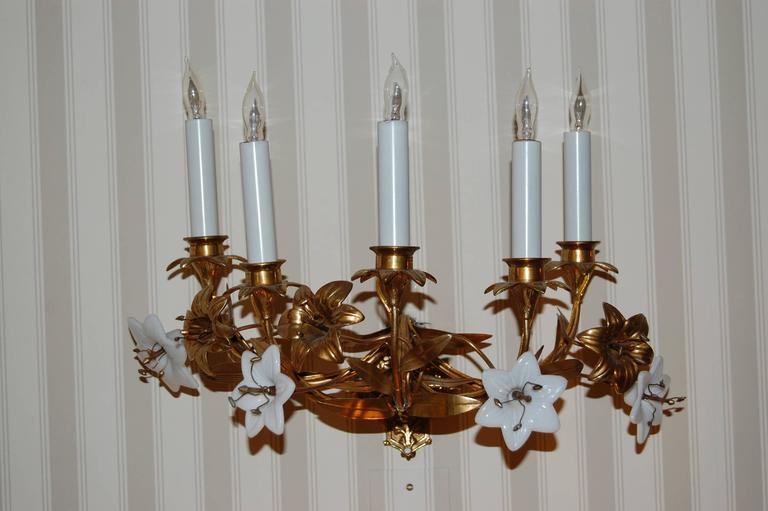 High Victorian Pair of Early 19th Century Five-Light French Lily Sconces with Glass Flowers For Sale