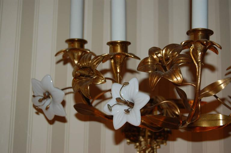 Cast Pair of Early 19th Century Five-Light French Lily Sconces with Glass Flowers For Sale