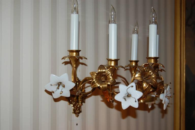 Brass Pair of Early 19th Century Five-Light French Lily Sconces with Glass Flowers For Sale