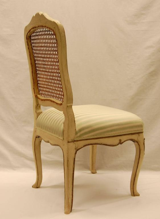 Italian Louis XV Style Chair with Hand-Caned Back in Original off White Painted Finish For Sale