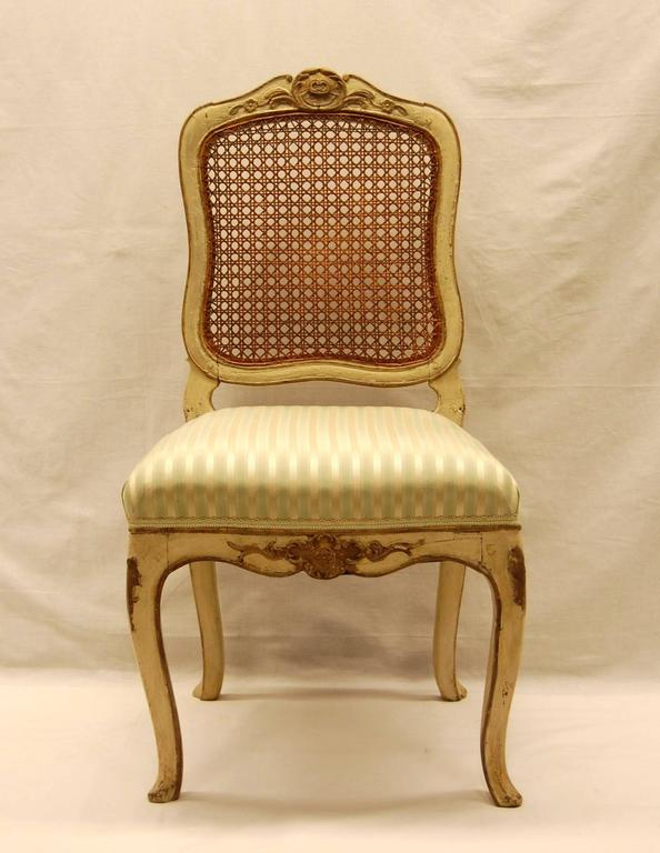 Hand-Carved Louis XV Style Chair with Hand-Caned Back in Original off White Painted Finish For Sale