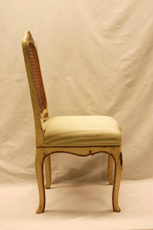 Louis XV Style Chair with Hand-Caned Back in Original off White Painted Finish In Excellent Condition For Sale In Pittsburgh, PA