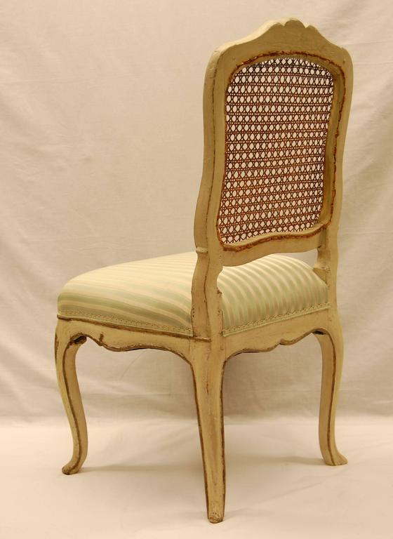 19th Century Louis XV Style Chair with Hand-Caned Back in Original off White Painted Finish For Sale