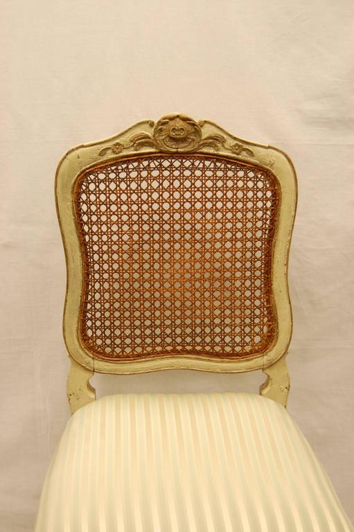 Wood Louis XV Style Chair with Hand-Caned Back in Original off White Painted Finish For Sale