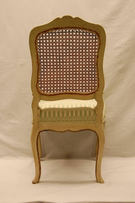 Louis XV Style Chair with Hand-Caned Back in Original off White Painted Finish For Sale 1