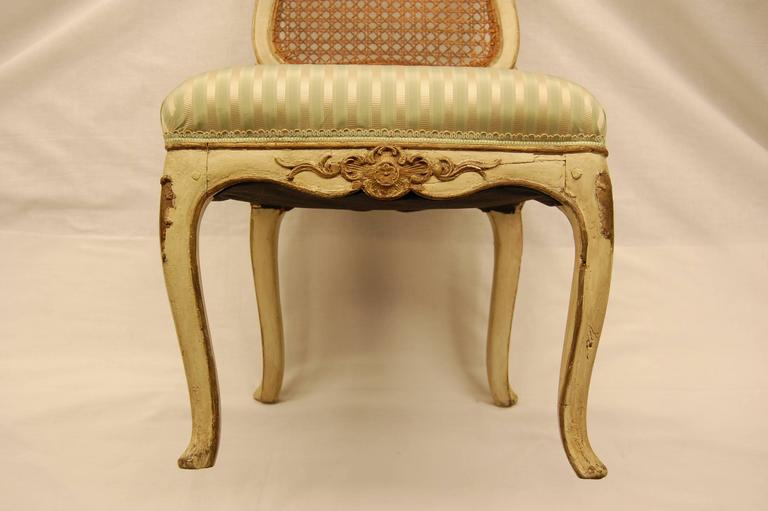 Louis XV Style Chair with Hand-Caned Back in Original off White Painted Finish For Sale 2
