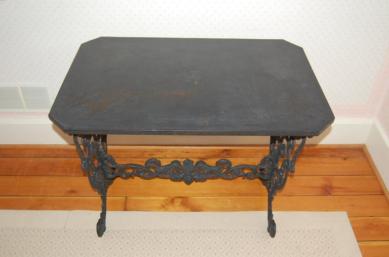High Victorian Cast Iron Table w/ Original Iron Top in the Style of Coalbrookdale, late 19th C. For Sale