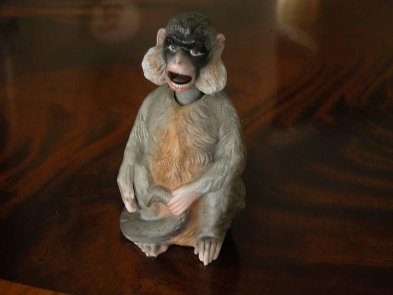 High Victorian 19th Century Porcelain Bobblehead Nodder of a Monkey by Ernst Bohne & Sohne For Sale