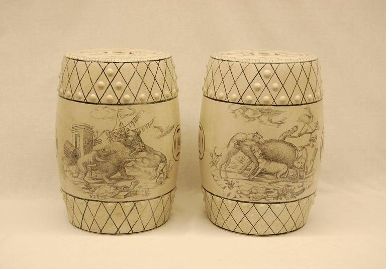 Pair of Early 20th Century Chinese Decorated Porcelain Garden Seats  For Sale 1
