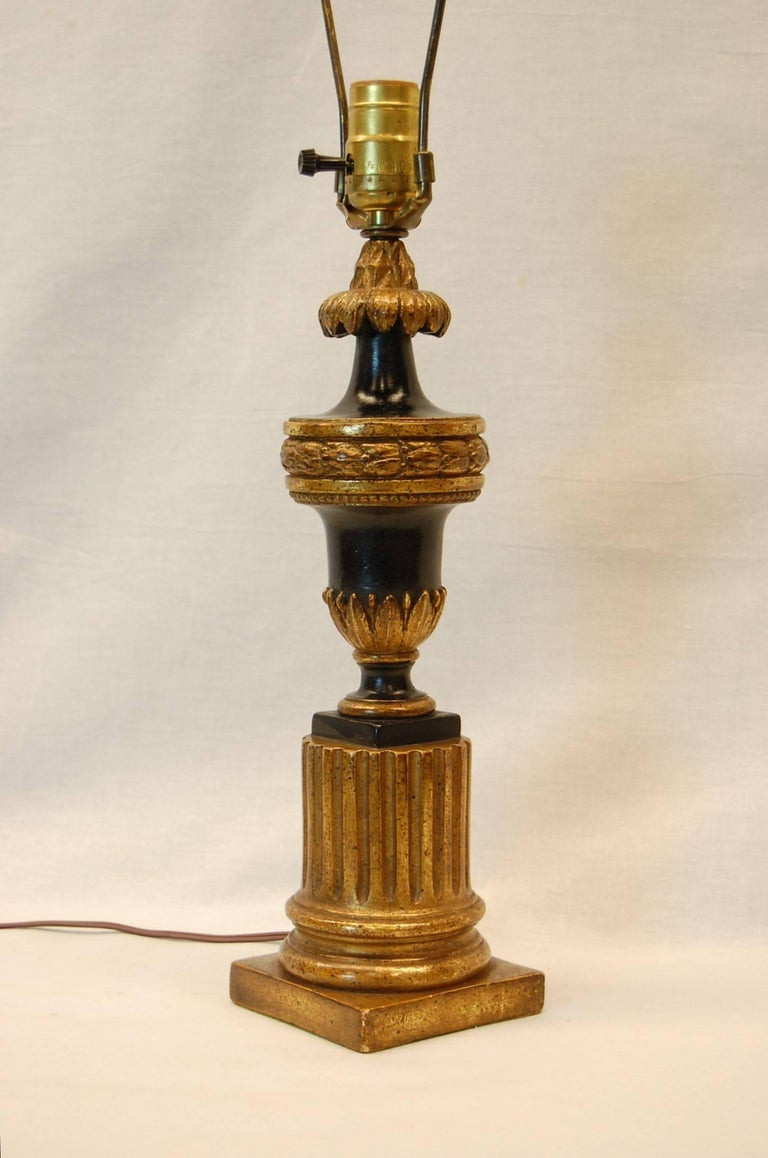 carved wood gilt table lamp in black paint and gold leaf mid 20th century for sale at 1stdibs. Black Bedroom Furniture Sets. Home Design Ideas