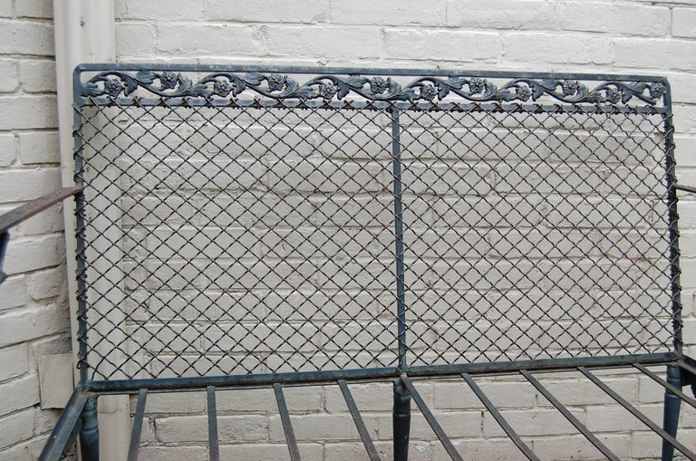 Settee with Cast Iron Scroll Work and Wire Mesh Back in Regency Style For Sale 2