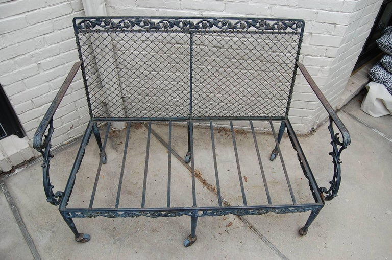 Settee with Cast Iron Scroll Work and Wire Mesh Back in Regency Style In Excellent Condition For Sale In Pittsburgh, PA