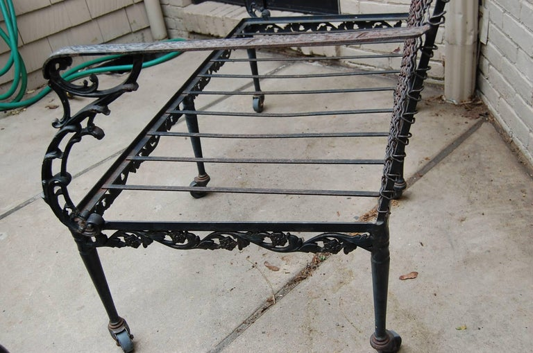 Settee with Cast Iron Scroll Work and Wire Mesh Back in Regency Style For Sale 4