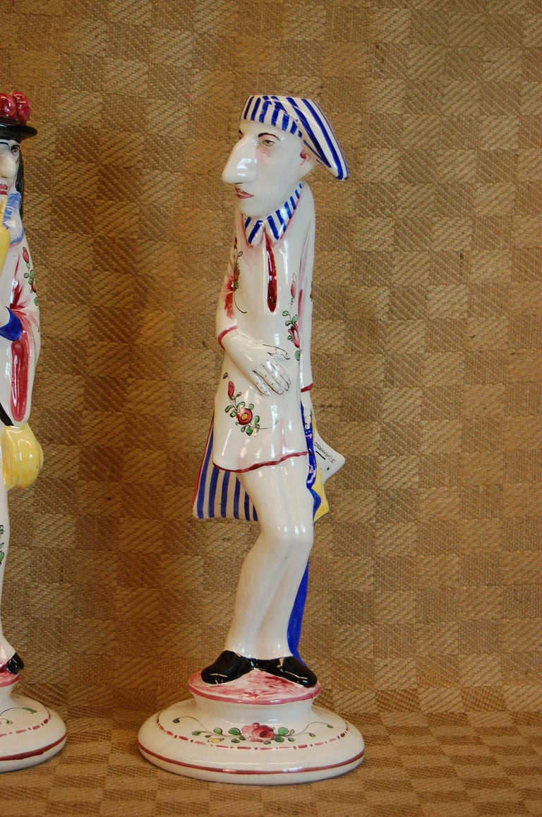 Art Deco Pair of French Faience Decorated Candlesticks of Doctor & Patient For Sale