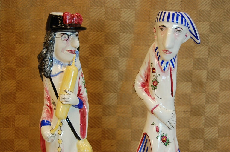 Pair of French Faience Decorated Candlesticks of Doctor & Patient For Sale 1